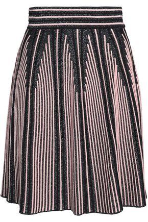 M MISSONI Pleated metallic ribbed stretch-knit skirt