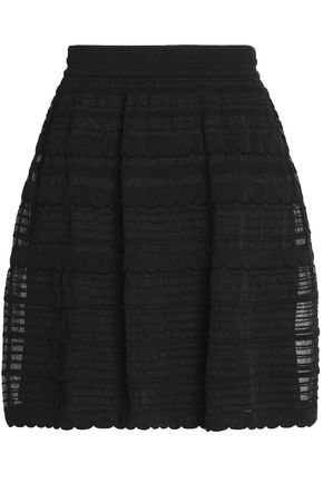 M MISSONI Pointelle-paneled cotton-blend mini skirt