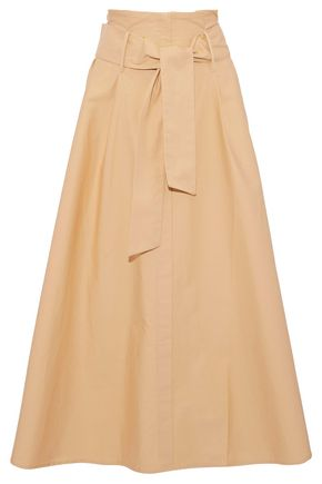 IRIS & INK Harry belted pleated cotton-poplin midi skirt