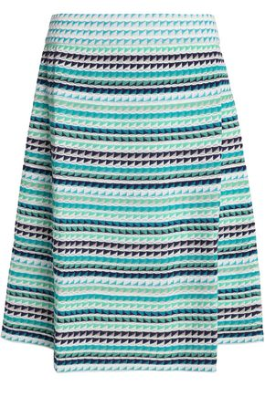 M MISSONI Pleated crochet-knit cotton-blend skirt