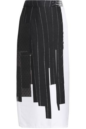 DKNY Printed silk-twill and point d'esprit midi skirt