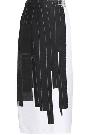 DKNY Printed silk-twill and point d'esprit midi skirt