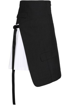 DKNY Layered pinstriped wool and cotton-poplin skirt