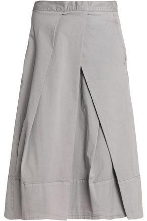 DKNY PURE Pleated stretch-cotton poplin midi skirt