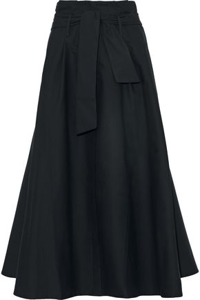 IRIS & INK Harry belted flared cotton-poplin midi skirt