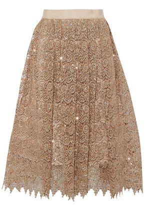 ALICE+OLIVIA Almira sequined metallic guipure lace skirt