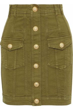 BALMAIN Button-detailed stretch-denim mini skirt