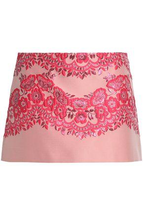 REDValentino Metallic floral-jacquard mini skirt
