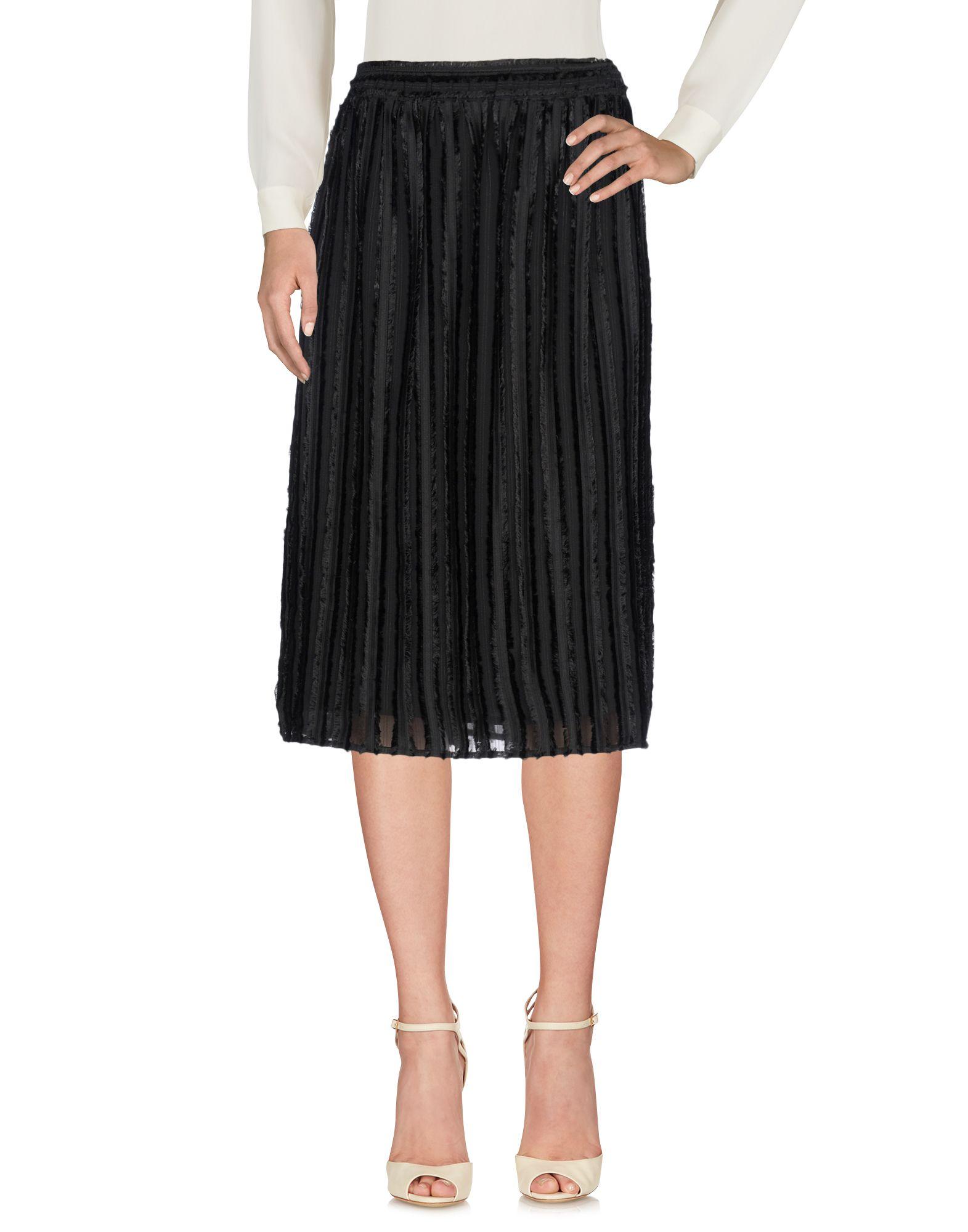 《送料無料》CLU レディース 7分丈スカート ブラック L ポリエステル 99% / ナイロン 1%