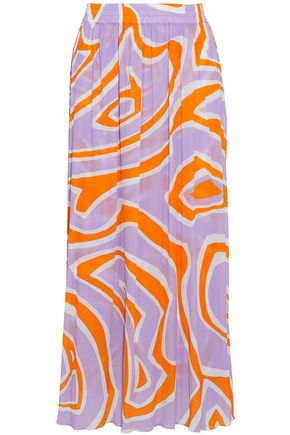 EMILIO PUCCI Pleated printed crepe de chine midi skirt
