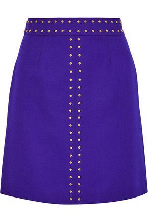 ROBERTO CAVALLI Studded wool mini skirt