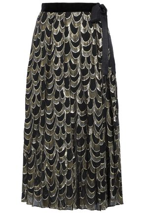 PERSEVERANCE Metallic silk-blend wrap midi skirt