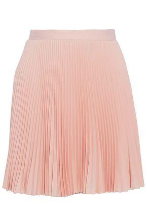 VALENTINO Plissé crepe mini skirt