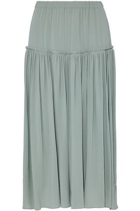 CHLOÉ Pleated silk-georgette midi skirt