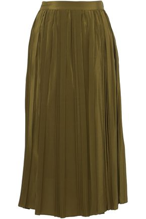 ROBERT RODRIGUEZ Pleated silk crepe de chine midi skirt