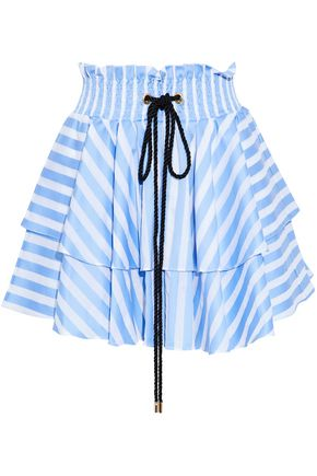 CAROLINE CONSTAS Ruffled striped cotton-poplin mini skirt