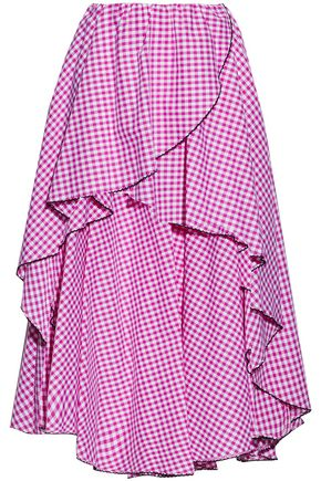 CAROLINE CONSTAS Wrap-effect ruffled gingham cotton-poplin skirt