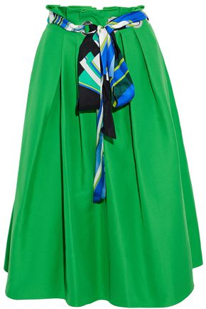 EMILIO PUCCI Printed silk twill-trimmed pleated cotton and silk-blend skirt