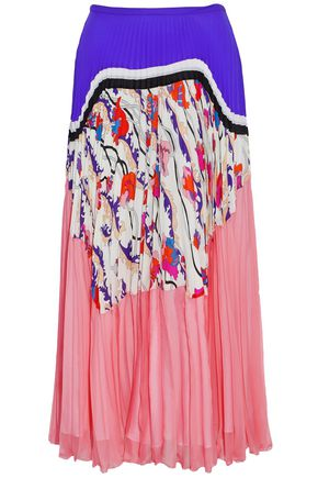 EMILIO PUCCI Printed paneled pleated silk-chiffon midi skirt