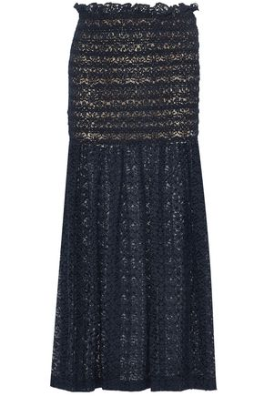 STELLA McCARTNEY Smocked cotton-blend lace maxi skirt