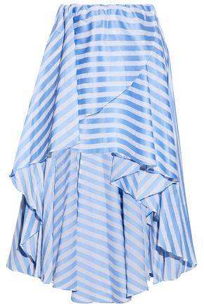 CAROLINE CONSTAS Asymmetric wrap-effect striped cotton-poplin skirt