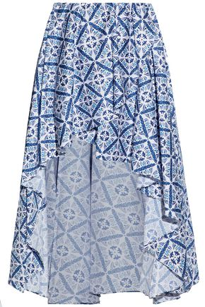 CAROLINE CONSTAS Asymmetric printed ruffled cotton-blend mini skirt