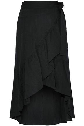 A.L.C. Asymmetric ruffled gauze wrap skirt