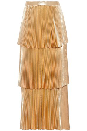 STELLA McCARTNEY Metallic tiered plissé midi skirt