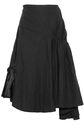 J.W.ANDERSON Asymmetric satin-paneled gathered linen midi skirt