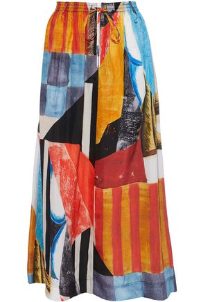 JOSEPH Gathered printed silk-satin maxi skirt