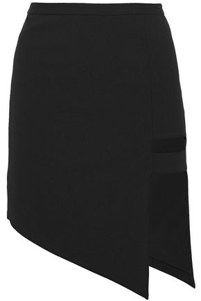 MICHELLE MASON Asymmetric cutout woven mini skirt
