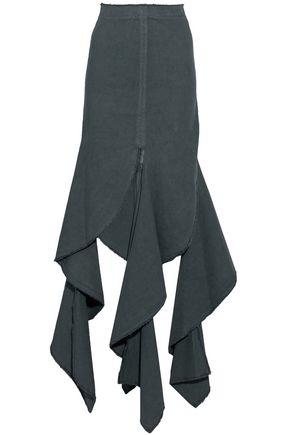 J.W.ANDERSON Asymmetric frayed ruffled cotton-twill skirt