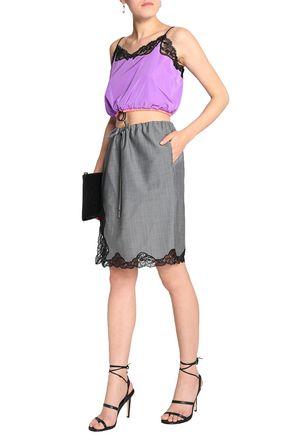 ALEXANDER WANG Lace-trimmed wool-blend skirt