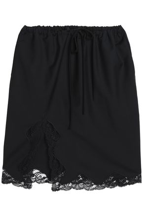 ALEXANDER WANG Lace-trimmed mélange wool-blend skirt