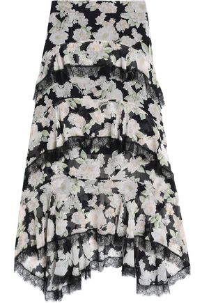 NICHOLAS Lace-trimmed layered printed chiffon midi skirt