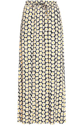 LOVE MOSCHINO Floral-print crepe maxi skirt