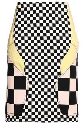 LOVE MOSCHINO Paneled cotton-blend mini skirt