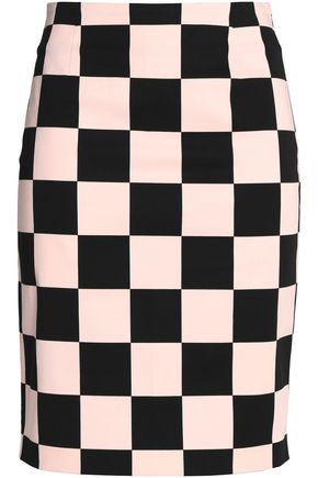 LOVE MOSCHINO Checked stretch-cotton skirt