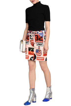 LOVE MOSCHINO Printed denim mini skirt