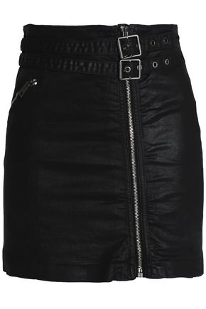 JUST CAVALLI Buckled coated cotton-blend twill mini skirt