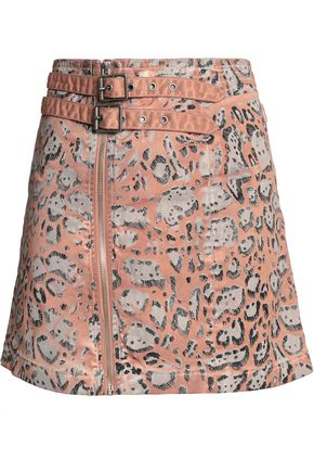 JUST CAVALLI Leopard-print stretch cotton-twill mini skirt