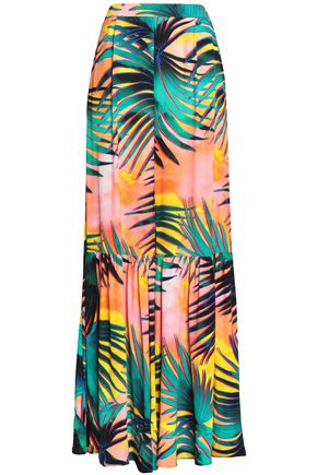JUST CAVALLI Printed crepe maxi skirt