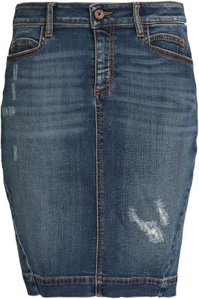 JUST CAVALLI Distressed denim skirt