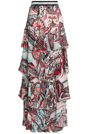 JUST CAVALLI Layered printed crepe maxi skirt