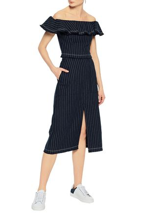 Split Front Pinstriped Cotton Skirt by T By Alexander Wang