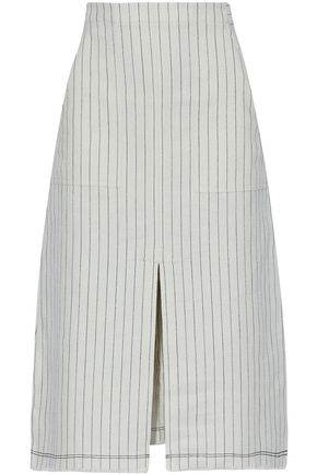 T by ALEXANDER WANG Split-front pinstriped cotton skirt