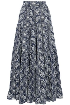CO Embroidered cotton maxi skirt