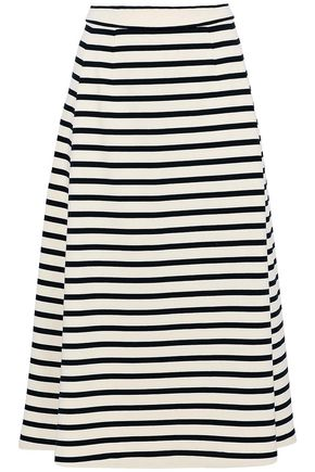 T by ALEXANDER WANG Striped cotton-jersey midi skirt