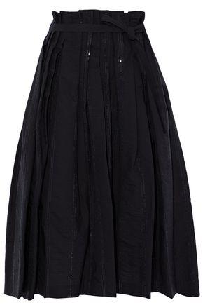 BRUNELLO CUCINELLI Pleated sequin-embellished cotton-blend skirt