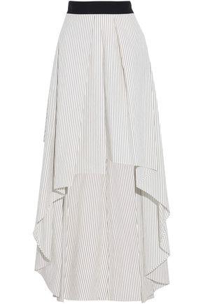 BRUNELLO CUCINELLI Asymmetric pinstriped cotton-poplin maxi skirt